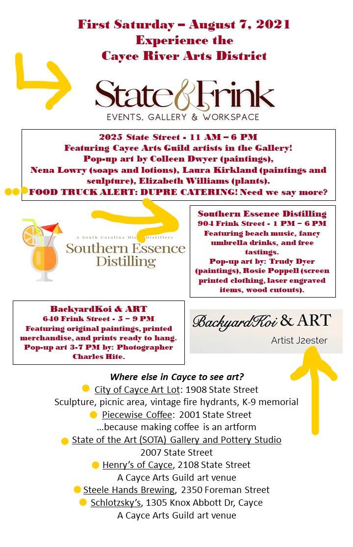 Cayce Arts Guild First Saturday Aug 2021